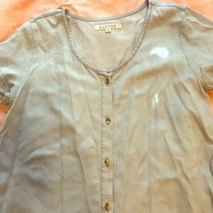 Francescas light blue button up top